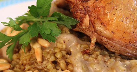 صينية الفريك بالدجاج …طبق صحي من دوسات