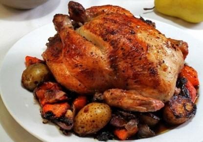 الدجاج المحشي باللحم والخضار