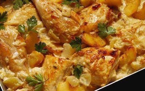 صينية البطاطا مع الدجاج
